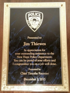 Jim Thiewes New Hope Police Commendation